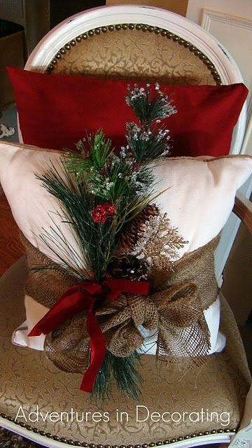 Christmas decor - pillow - Love the burlap wrap with pick. Could use 2 old pillows.