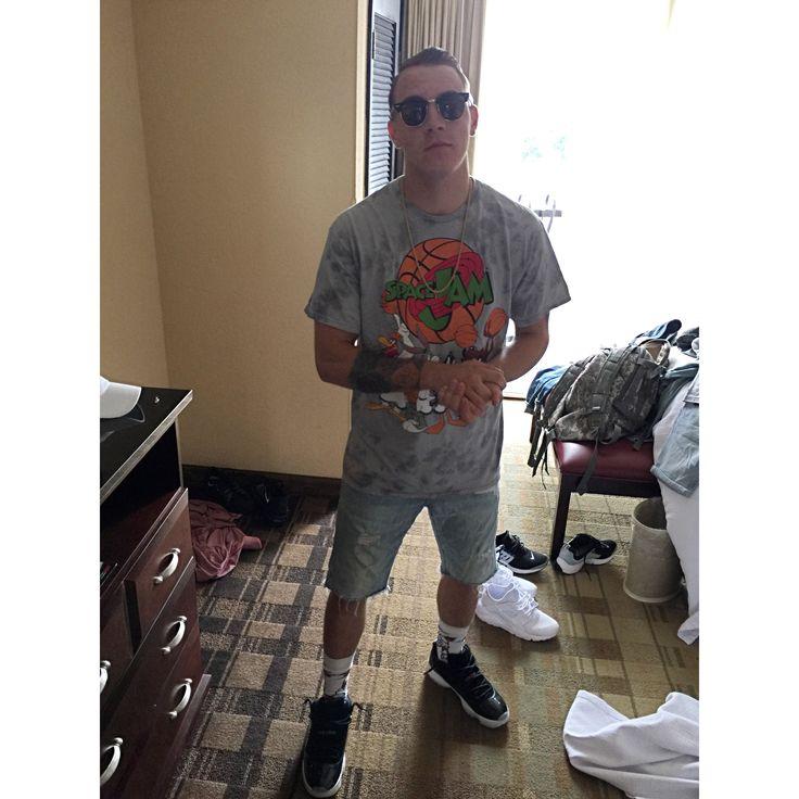 "Sunglasses- ray ban, club masters  Space jam shirt- urban outfitters  Jean shorts- American eagle  Gucci brrr stance socks- zumiez Jordan 11 retro ""barons""- foot locker"
