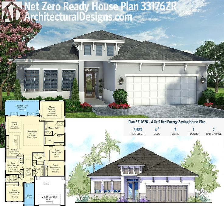 Architectural Designs Net Zero Ready House Plan 33176ZR   2,500+ Sq. Ft. And