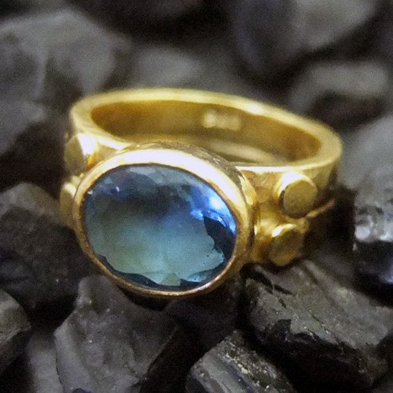 Metal: 22K Gold Vermeil Over 925K sterling Silver  Gemstones :Blue Topaz Ring Band : 6 mm.    Payment  We accept payment via:    - Paypal