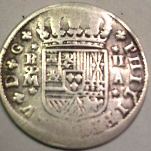 Colonial Coinage Spanish Mint-King Phillipus V Silver Two Reale Cob/Coin(#181)