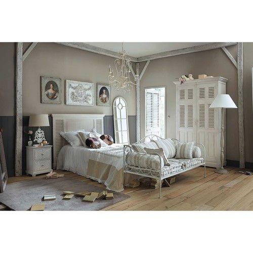 Gebroken witte mangohouten garderobe B 120 cm