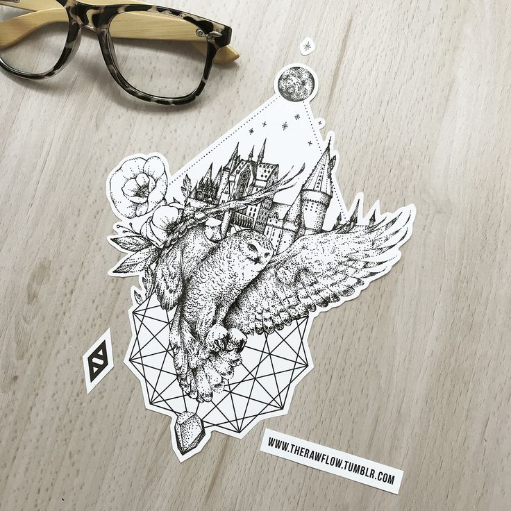 Harry Potter Hogwarts Eulen-Tattoo-Design – Holen Sie sich die vollständige Harry Potter-Kollektion mit 68 Dotwork-Designs: www.rawaf.shop/tattoo/collections