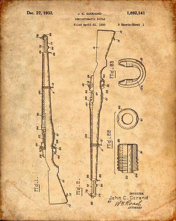 Se trata de una copia de la patente para un rifle M-1 en 1932. La patente original ha sido limpiada y mejorado para crear una pieza de exhibición atractiva para su hogar u oficina. Esto es una gran manera de poner tus intereses y aficiones en exhibición. Idea de regalo maravilloso también. La imagen se imprime en papel ácido, profesional gratis, archivo mate arte dando la imagen de colores ricos y vibrantes. Impresiones son empaquetadas en fundas libres de ácido, resistente a la humedad y…