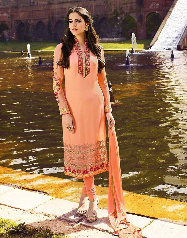 You can be confident to make a powerful fashion statement with this Salmon Georgette Unstitched Salwar Kameez. The lovely Crystals Stones & Butta Work work a substantial attribute of this attire.