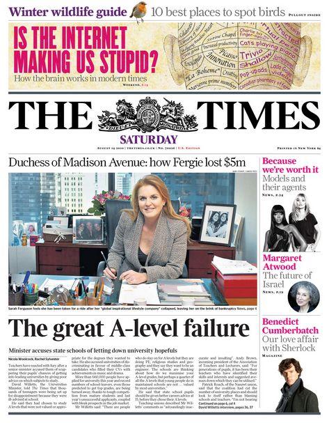 THE TIMES - AUGUST 14 2010 - SARAH FERGUSON