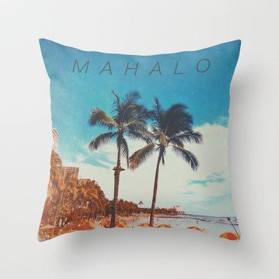 Mahalo Throw Pillow by Stoneriver - $20.00  LIVE ALOHA Art Print by Stoneriver - $15.00   #hawaii #sunset #romantic #vacation #travel #trip #silhouette #palmtree #nature #dusk #landscape #ocean #surfing #oahu #waikiki #waikikibeach #beach #tropical #typography #aloha #livealoha #colorful #happy #present #mahalo #pillow #throwpillow