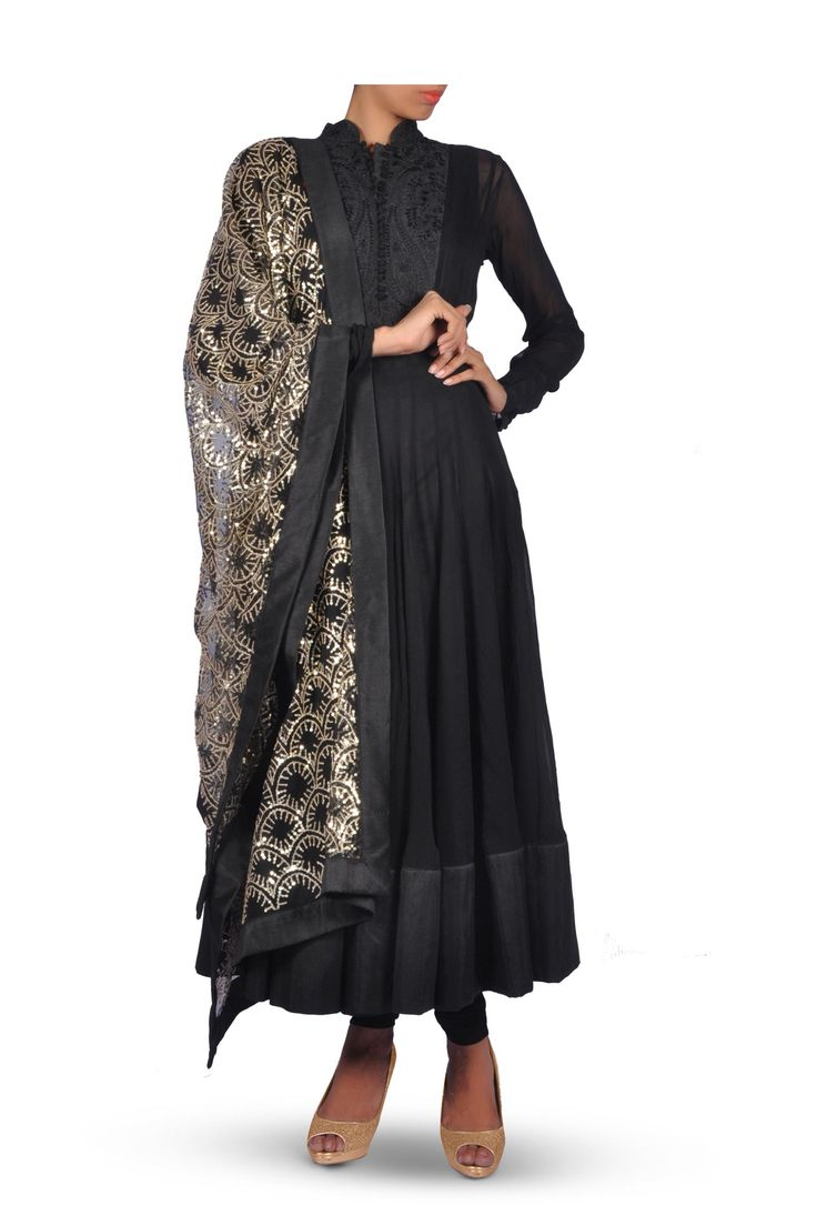 Black Anarkali with Churidar