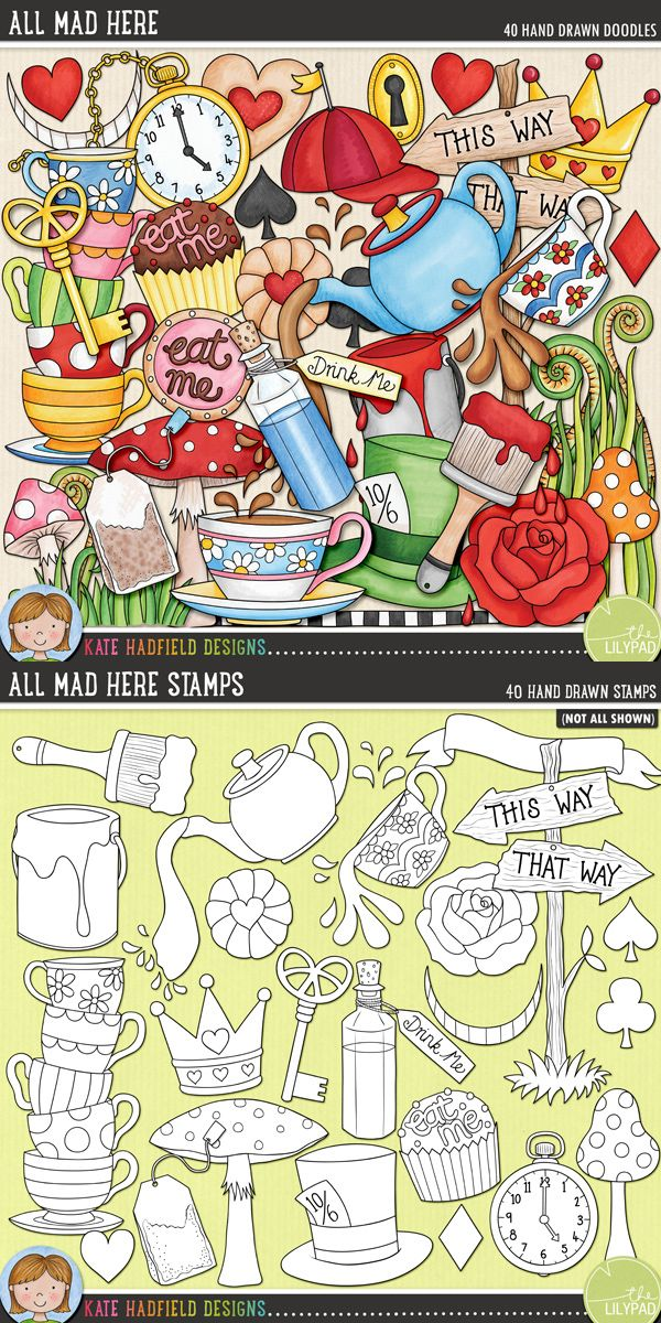 Alice in Wonderland digital scrapbooking elements | Cute wonderland clip art | Hand-drawn illustrations for digital scrapbooking, crafting and teaching resources from Kate Hadfield Designs! Click through to see projects created using these illustrations!