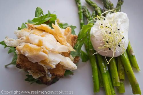 Haddock on Toast with Asparagus and Poached Egg | Real Men Can Cook