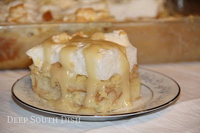 Old Fashioned New Orleans Creole Bread Pudding with Meringue