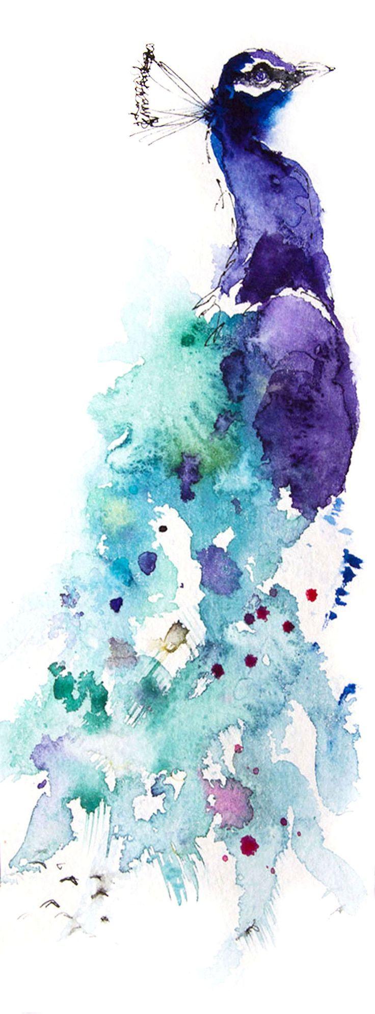 PFAU Original Kunst Aquarell PRINT, Original Kunstdruck, Wohnkultur Kunst, Kinderzimmer Kunst, Vogel Kunstdruck, Illustration, Tierkunst
