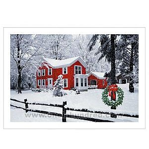 Verse and Name Printed - Holiday greeting card with snow cover country scene with large red house.