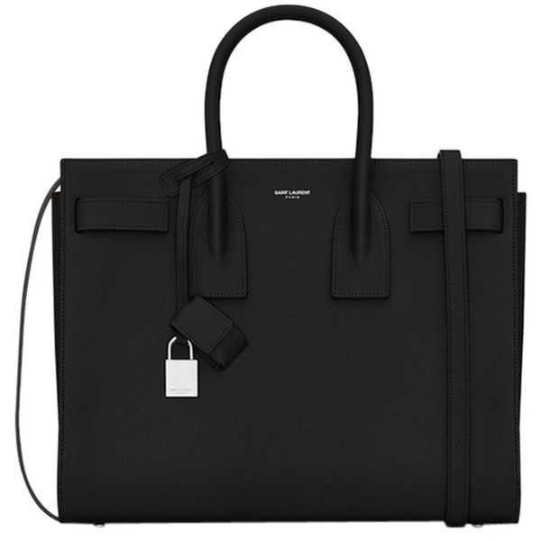 Pre-owned Saint Laurent Brand New Hammered Leather Classic Sac De Jour... ($2,550) ❤ liked on Polyvore featuring bags, handbags, black, leather bags, real leather handbags, genuine leather handbags, leather purse and pocket purse