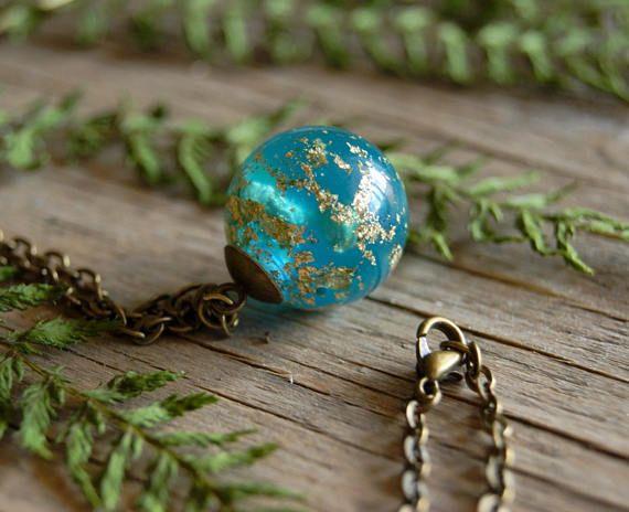 Blue Resin Sphere Pendant Ball Necklace Anniversary gift for