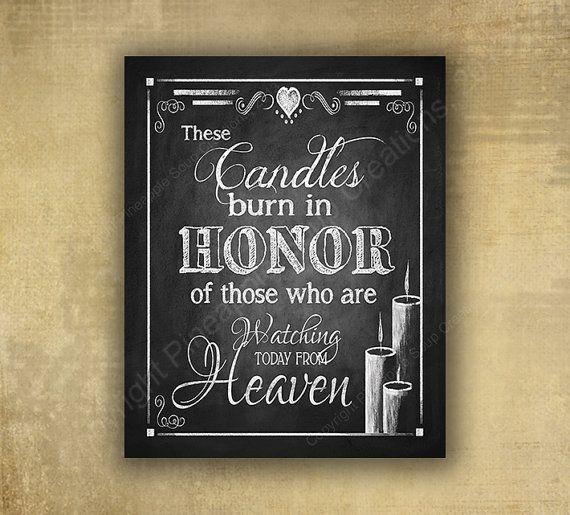 Memorial Candle Wedding sign - PRINTED chalkboard wedding signage honoring those…