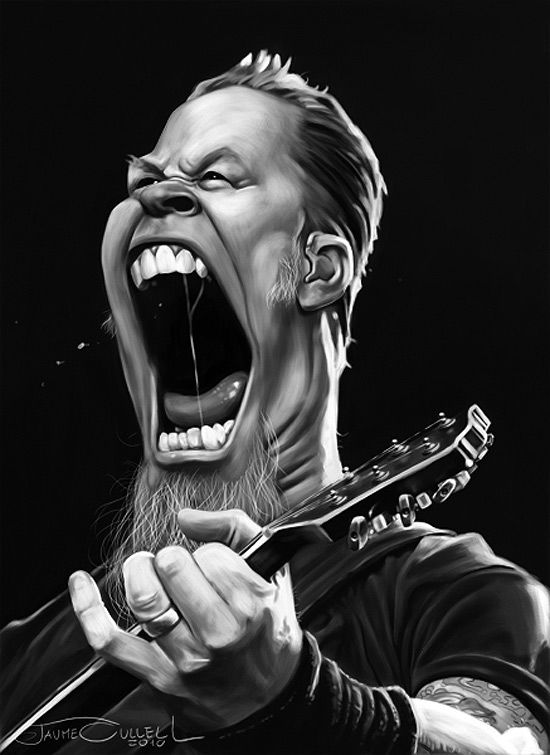 Caricatura de James Hetfield cantante de Metallica