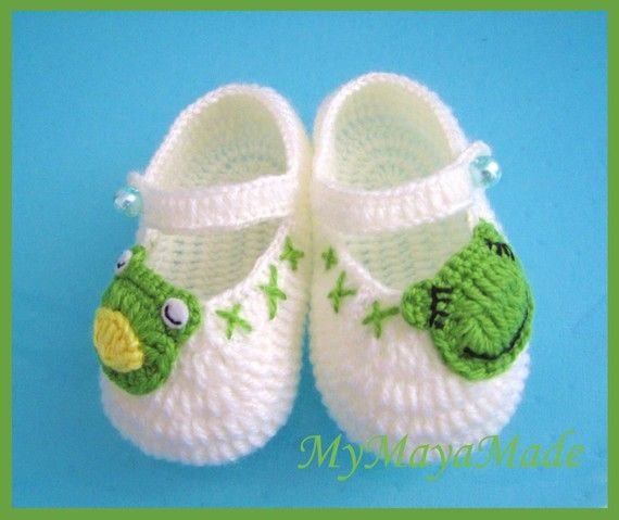 Little Frog Crochet Baby Booties  Size from 012mos by MyMayaMade, $22.99
