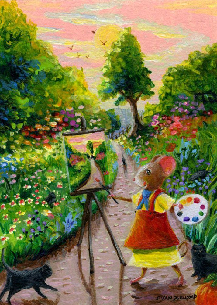 Mouse Cats Flowers Birds Landscape ACEO Original Art Painting #Realism