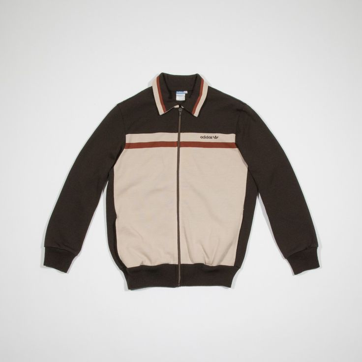 ✦ CLICK TO BUY ✦ ADIDAS - Polyacrylic brown 60s track top sweatshirt - Felpa anni '60 marrone e beige - Millesimè Vintage Clothing & Accessories