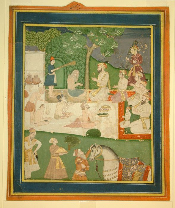 Shah Jahan and his son Dara Shikoh visiting a Muslim saint