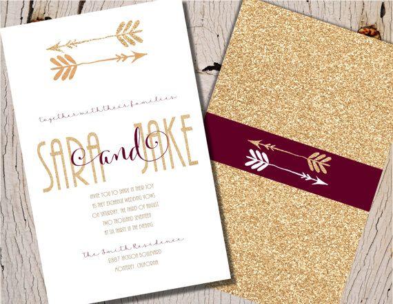 Burgundy Wedding Invitation Burgundy and Gold by Joyinvitations