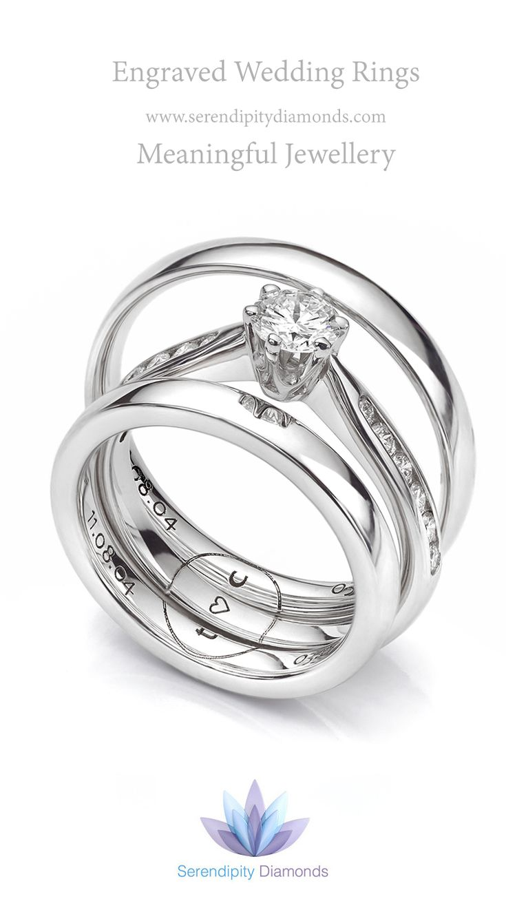 Combination engraving across three rings : featuring one design across an engagement ring and two wedding rings, part of the engraved wedding ring service from Serendipity Diamonds.