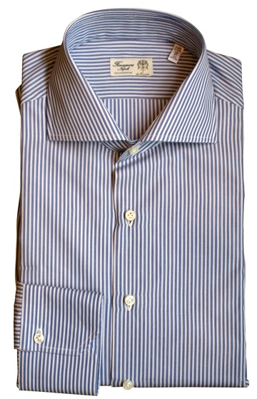 White spread collar yellow ground red stripe dress shirt, really stylish and unusual, high quality cotton, limited edition handmade England