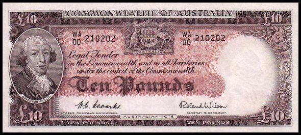 Australian £10 pre-decimal note - Front.