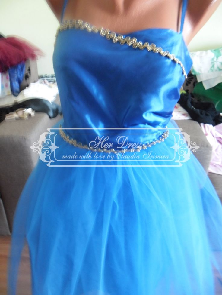 Blue Satin and Tulle Dress with Hand-sewn Gold Apliques at the bust and at the waist by HerDressByClaudia on Etsy