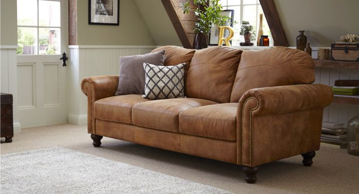 Tan leather sofa #DFS