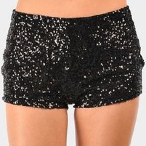 Price drop!  Black sequin shorts Gorgeous black sequin shorts. New with tags, never worn. Size large. Shorts