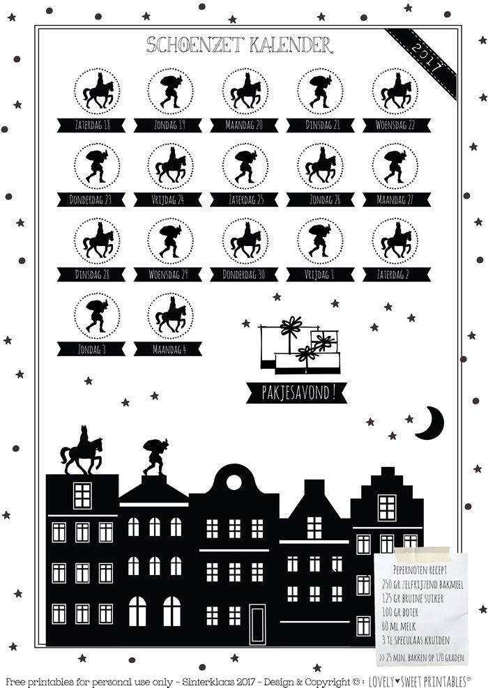 2017 FREE DOWNLOAD ! Schoenzet kalender ! Met pepernoten recept ;-)