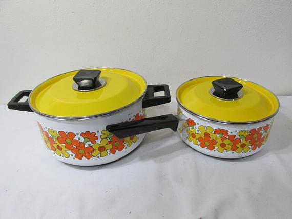 Enamel Cookware Set Mid Century Modern Yellow and White