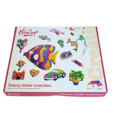 Make and create your very own stickerz! With the cool Hamleys Sticker Scratcherz, you have the freedom to design anything from flowers to animals. Just peel off the backing paper, place the stencil and rub foil over stickers to create your amazing holographic stickers. The kit is fun and easy to use and in moments, you can have your very own sticker! Sticker Scratcherz contains 180 foam stickers, 3 stencils and over 55 holographic and metallic sheets. Get inspired! #hamleys #artsandcrafts