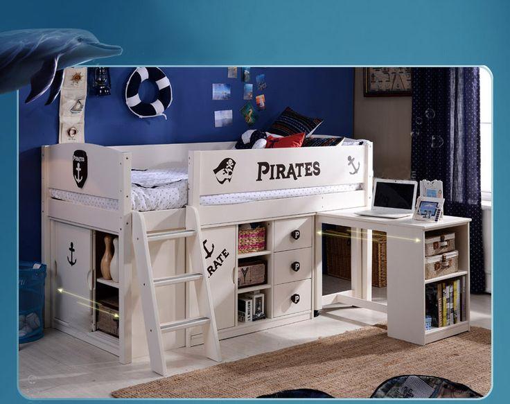 Кровать детская в пиратском стиле со столом и выдвижными ящиками купить в интернет-магазине https://lafred.ru/catalog/catalog/detail/43216526054/