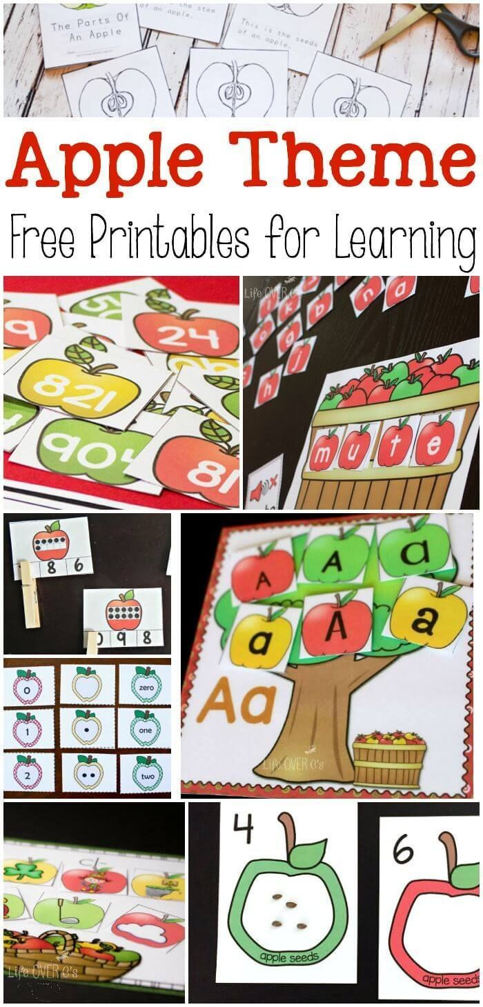Loads of apple theme free printables for learning!