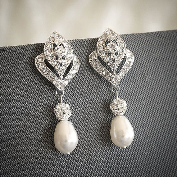 Bridal Earrings Crystal Wedding Earrings by GlamorousBijoux