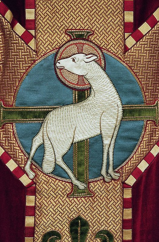 Chasuble (detail with lamb) Belgian Produced by A.E. Grossé, Bruges Date: acquired by H.W.J. Hoosemans, c. 1925-1935