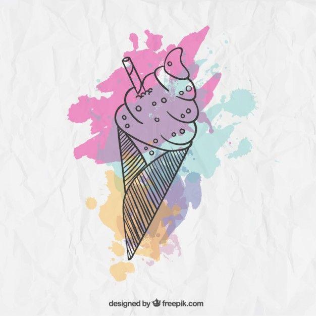 Free vector Watercolor ice cream #9999