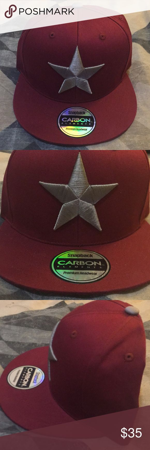 Men's Carbon Elements Star Snapback (Hat) In very good condition!!  Burgundy/Grey Element Accessories Hats