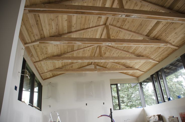 Painting Exposed Wood Ceiling: Painted Black Beams With White Tongue And Groove