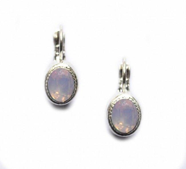 Camps en Camps oorbel ovaal, swarovski zilver roze opaal
