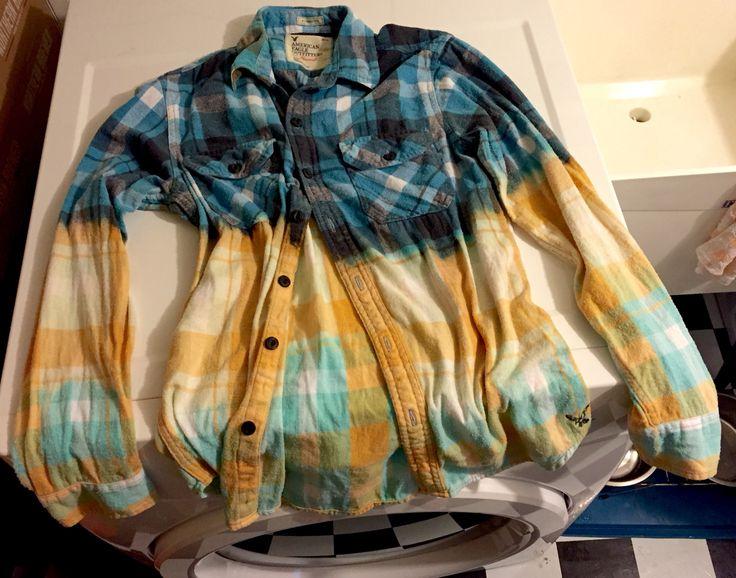 diy bleach dipped ombre shirt  thrift  mens flannel shirt  mix   part bleach