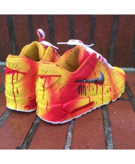 7127b7ee8e Nike Air Max 90 Drip Custom Yellow Red UK | Shoes | Nike slippers ...