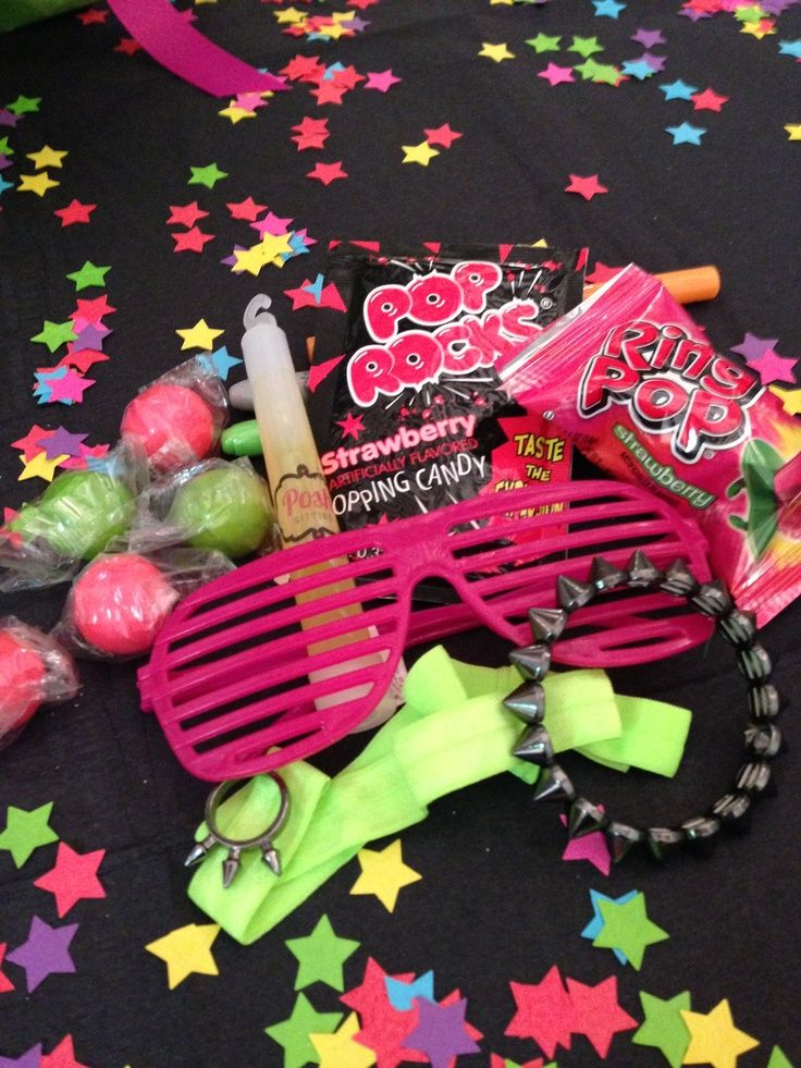 Neon Glow Party,  Goody bag and table decor ideas