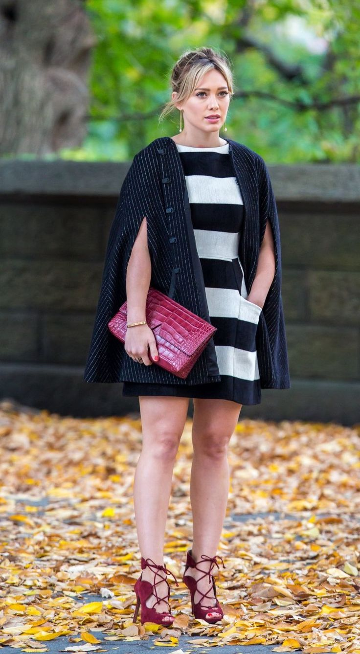 love but maybe smaller stripes fit and flare dress love he cape and shoes!