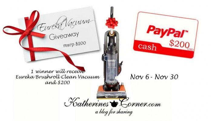 Eureka Vacuum Giveaway - entre to win vacuum and 200 cash Katherines Corner