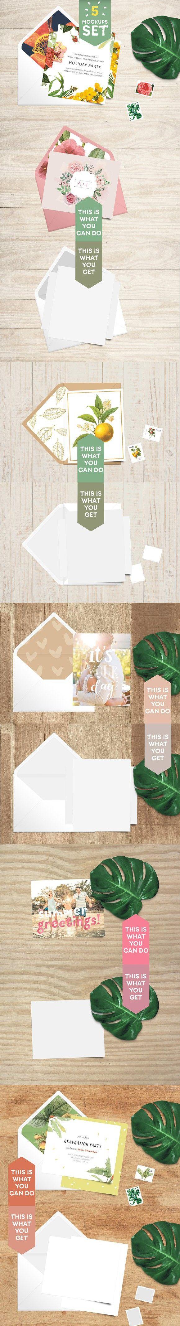 Card + Envelope 5 Mockups Set. Wedding Card Templates