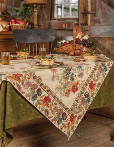 April cornell field flowers sqaure tablecloth with poppies amd golden grains from victorian trading co